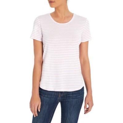 スリードッツ レディース Tシャツ トップス Curved Hem Relaxed Striped T-Shirt