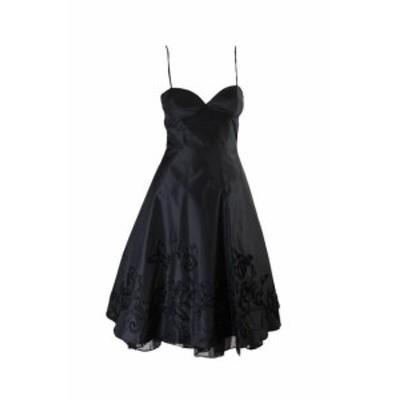 ファッション ドレス Lavanderia da Shelli Segal Nero Bretelle Sottili Testurizzato Abito 4