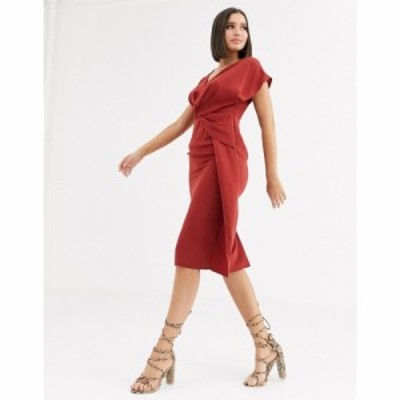 エイソス ASOS DESIGN レディース ワンピース ミドル丈 ワンピース・ドレス twist and drape front midi dress ラスティック