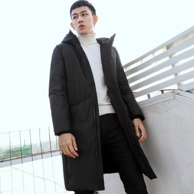 ダウンコート メンズ ダウンジャケット ジャケット アウター コート ブルゾン フード付き 防寒 防風 ロング丈 秋服 冬服 スリム 大きいサイズ