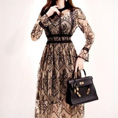 総レースドレス ロング ドレス ワンピース ワンピ ゴージャス 大人 キレイ 上品 韓国 韓国ファッション 韓国スタイル