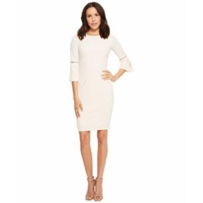 カルバンクライン レディース ドレス Sheath Dress with Slit Sleeve and Pearl Detail CD8C14LF