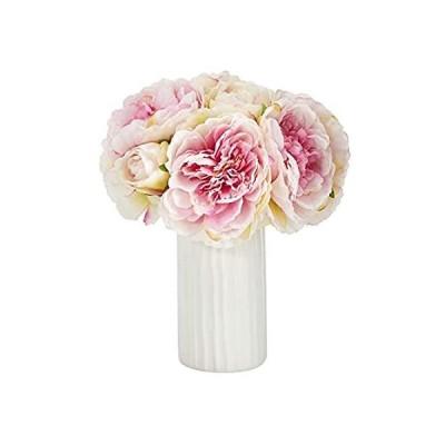 特別価格ミニ11インチ 牡丹ブーケ 人工アレンジメント 白い花瓶好評販売中