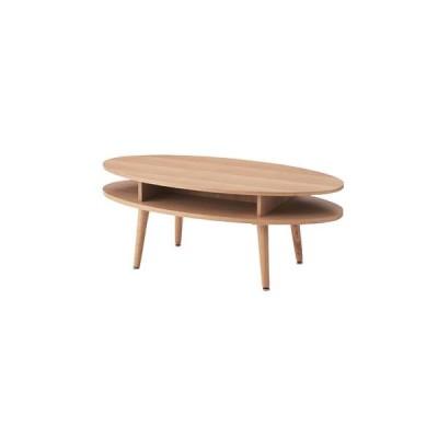 北欧調オーバルテーブル/ローテーブル 〔幅105cm ナチュラル〕 木製 NYT-762NA