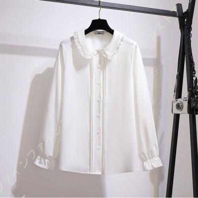 シャツ ブラウス レディース 長袖 スーツ シフォン オフィス ビジネス 事務服 制服 フォーマル おしゃれ ワイシャツ 可愛い ラペル スリム 白 無地 ホワイト
