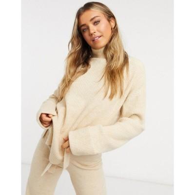 エイソス レディース ニット&セーター アウター ASOS DESIGN set turtleneck sweater with slit detail in camel Camel