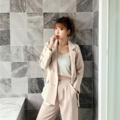 韓国 ファッション レディース セットアップ ジャケット 春 夏 秋 冬 2点セット ワイドパンツ テーパードパンツ ウエストベルト レトロ