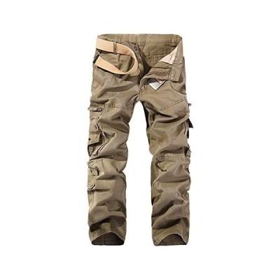 Jearey メンズカーゴパンツ 作業ズボン 8ポケット ワークパンツ 作業着 ミリタリーパンツ 軍パン 登山パンツ (カーキ 30)