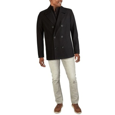 ケネスコール ジャケット&ブルゾン アウター メンズ Men's Big & Tall Double-Breasted Wool-Blend Peacoat Black