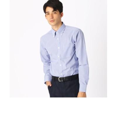 《イージーケア・抗菌防臭加工》 カラーチェック ボタンダウンカラーシャツ