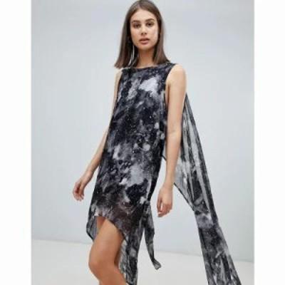 レリジョン ワンピース grace printed midi dress with asymmetric hem Interlude foil