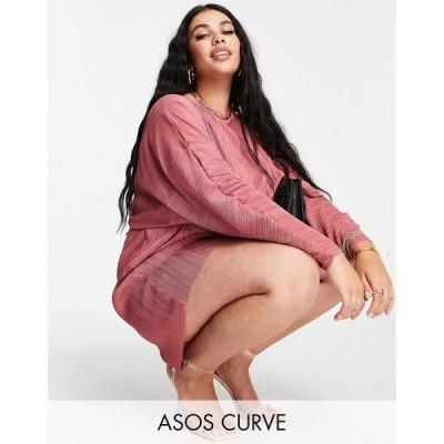 エイソス ASOS Curve レディース オールインワン ショート ワンピース・ドレス ASOS DESIGN curve plisse playsuit in pink ピンク