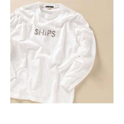 【WEB限定】SHIPS: モチーフ ロゴ ペイズリー/フラワー/カモ柄 ロングスリーブ Tシャツ (ロンT)