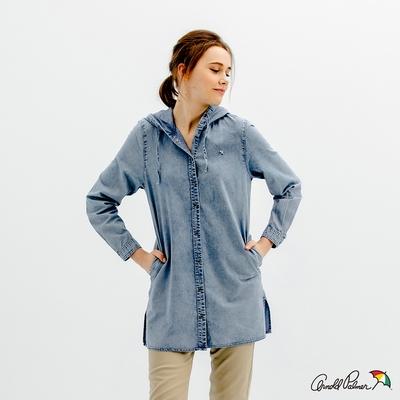 Arnold Palmer -女裝-雪花洗連帽長版上衣-藍色