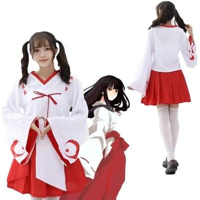 コスプレ 衣装 巫女 和服 ミニ巫女 コスチューム 大人 白 赤 レディース (L)