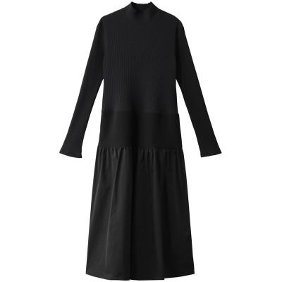 LE CIEL BLEU ルシェルブルー コンストラクティングファブリックドレス レディース ブラック 36