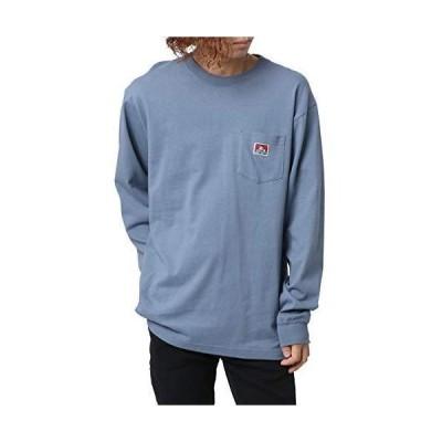 [ベンデイビス] Tシャツ メンズ 無地 ロンT ポケット 付き 長袖 (L:身丈76cm 肩幅50cm 身幅54cm 袖丈66cm 裄丈91cm, ブル