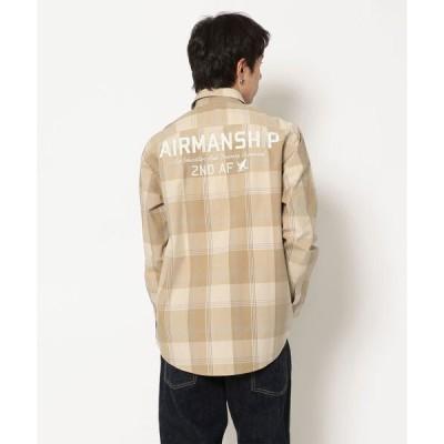 """シャツ ブラウス チェック刺繍シャツ/L/S CHECKERD ENBROIDERY SHIRT""""AIRMANSHIP"""
