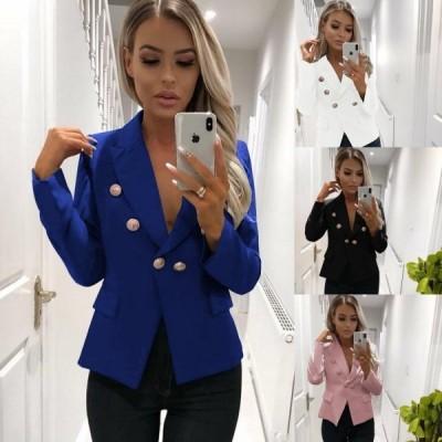 全4色スプリングコート長袖無地テーラードジャケットスーツジャケットレディースショート丈フォーマルアウターカジュアル女性用20代30代40代