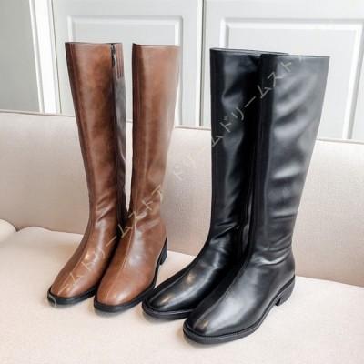 レディース ロングブーツ ブーツ ハイカット 高筒ブーツ シンプル 歩きやすい 秋冬 長靴 ジョッキーブーツ 美脚 カジュアル 滑り止め 防寒 ロング ブーツ