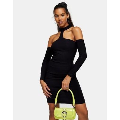 トップショップ レディース ワンピース トップス Topshop cold shouder body-conscious mini dress in black