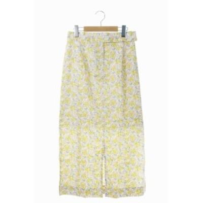 【中古】ルージュヴィフ Liberty Art Fabrics スカート ロング タイト 花柄 リバティープリント 38 黄 ピンク