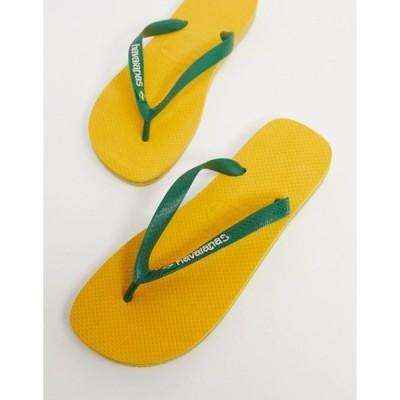 ハワイアナス メンズ サンダル シューズ Havianas brasil logo flip flops in yellow and green