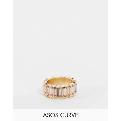 エイソス ASOS Curve レディース 指輪・リング ジュエリー・アクセサリー ASOS DESIGN Curve ring with pink baguette stones in gold tone ゴールド