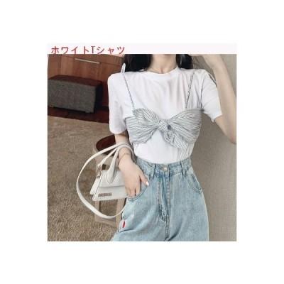 【送料無料】ストライプサスペンダー 偽 セット 半袖Tシャツ 女 夏服 | 364331_A62818-5593595