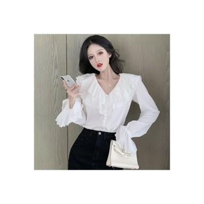 【送料無料】ワイシャツ 女 デザイン 感 小 秋 フレンチ タイプ フリル 西洋風 品質 | 364331_A63656-6744630