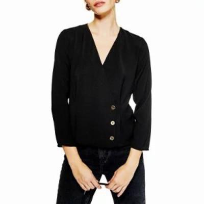 トップショップ ブラウス・シャツ Button Wrap Blouse Black