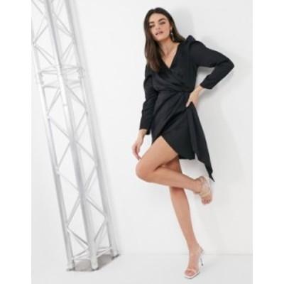 リバーアイランド レディース ワンピース トップス River Island satin drape mini dress in black Black