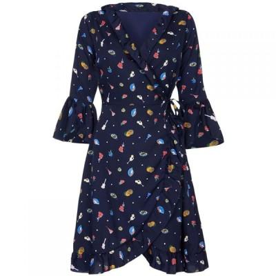 ユミ Yumi レディース パーティードレス ラップドレス ワンピース・ドレス Tapas Spot Knee Length Wrap Dress Navy