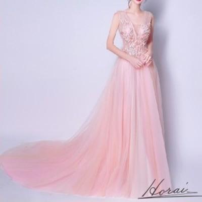 ウェディングドレス ノースリーブ フロアレングス トレーン長 Aライン パール 装飾 花柄 レース ピンク 大きいサイズ 【お取り寄せ】