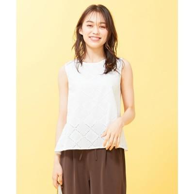 any SiS 【洗える】コットン刺繍レース ブラウス (オフホワイト)