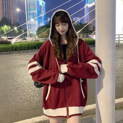 レディースパーカートップス着痩せ30代かわいい薄手オーバーサイズ可愛い20代秋きれいめ秋冬レディースパーカー韓国