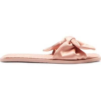 カルロサ レイ Carlotha Ray レディース サンダル・ミュール スクエアトゥ シューズ・靴 Arielle knotted square-toe satin slides Pink