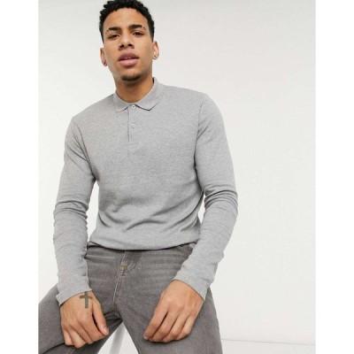 セレクテッド ポロシャツ メンズ Selected Homme jersey long sleeve polo in grey エイソス ASOS グレー 灰色