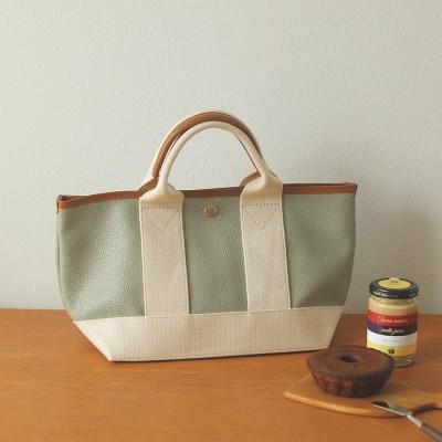 トプカピ ブレス TOPKAPI BREATH スコッチグレインネオレザー ミニトートバッグ(グリーングレー)