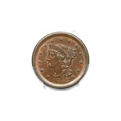 金貨 銀貨 硬貨 シルバー ゴールド アンティークコイン 1853 N-28 R-3+ PCGS MS 63 BN Braided Hair Larg