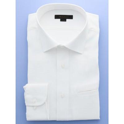 形態安定レギュラーフィット ワイドカラー玉縁ポケット長袖ビジネスドレスシャツ/ワイシャツ