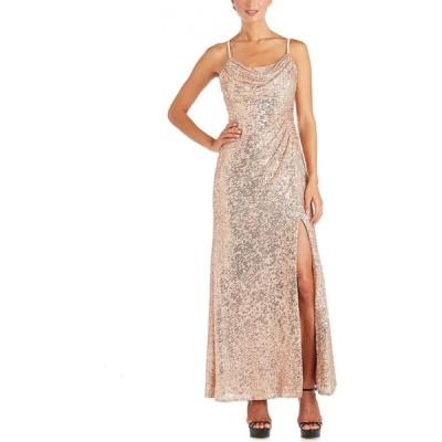 ナイトウェイ Nightway レディース パーティードレス ワンピース・ドレス Sequinned Cowlneck Gown Gold