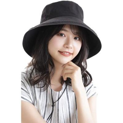 選べる2タイプ-UVカット帽子-レディース-UVカット-uv19000-bk