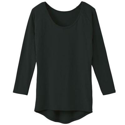 大きな汗取り付8分袖インナー(冬の汗ジミ対策・Sweat Magic汗取りパッド付)(吸湿発熱・保温)(爆汗さん(R))/ブラック/3L