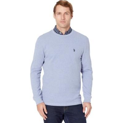 ユーエスポロアッスン U.S. POLO ASSN. メンズ 長袖Tシャツ トップス Long Sleeve Crew Neck Solid Thermal Shirt Vista Blue Heather