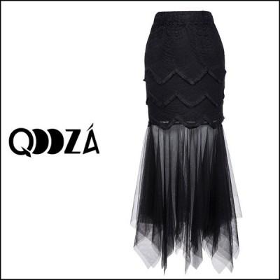 【予約】QOOZA / チュールメッシュトランペットロングスカート