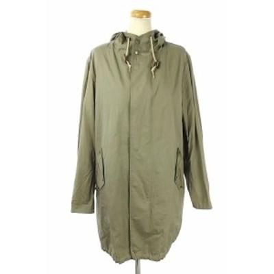 【中古】Traditional Weatherwear マウンテンパーカー ロング丈 フード ジップアップ 34 緑 カーキ ■OS レディース