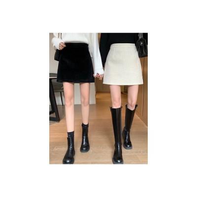 【送料無料】ハイウエスト 着やせ 手厚い ミニスカート 秋冬 模倣します 水 尾 絨 | 346770_A64193-8770533
