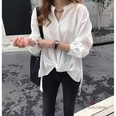 ブラウス シャツ 無地 おしゃれ 春シャツ とろみシャツ 白シャツ 大人 トップス ゆったり 大きいサイズ 体型カバー シャツブラウス Vネック レディース 30代40代