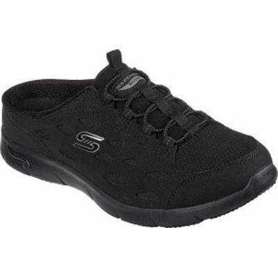 スケッチャーズ レディース スニーカー シューズ Women's Skechers Arch Fit Refine Lucky Breeze Backless Sneaker Black/Black